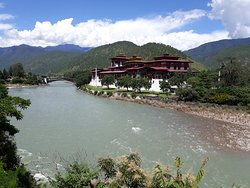 Beautiful Fort, Old Capital of Bhutan, Punakha, pitch on tip of river confluence (m/f)