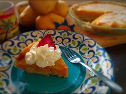 Awesome Chilled Mango Buttered Rum pie with whipped cream ⭐️⭐️⭐️⭐️⭐️