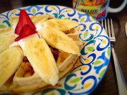 Waffles with Banana and Whipped Cream ❤️❤️❤️❤️❤️
