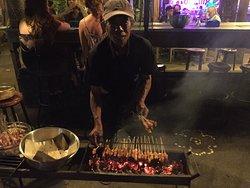 Pak Pica makes Satays.
