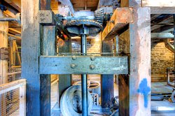 Watson's Mill is run by an intricate system of pulleys and gears. Photo Credit: Brian Kunter