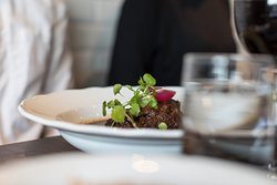 One of our classics: Red wine braised ox cheek, potato puree, pickled & roasted onion