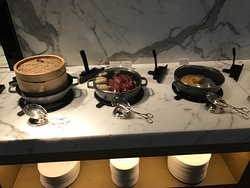 Breakfast hot options inc bacon, sausages, frittata and dim sum (and great egg dishes change dai