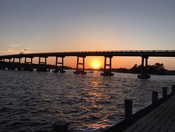 Watching our last Oriental sunset under the Oriental Road Bridge.