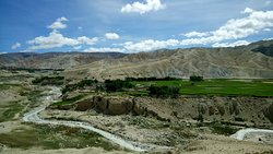 Beautiful landscape with a stream in Ghami, Upper Mustang