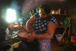 Learning how to make coconut roti