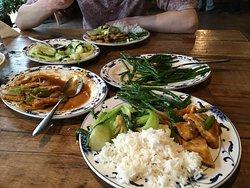 Vegan banquet in progress, main course