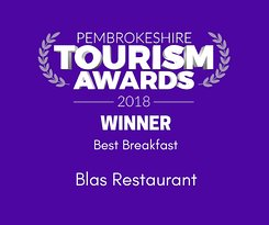 Winner Best breakfast, Pembrokeshire Tourism Awards 2018
