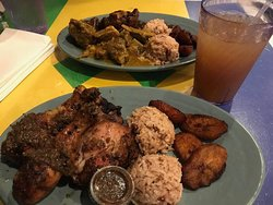 Curried goat, oxtails, jerk chicken and ginger beer