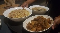 fried rice, chicken with bamboo shoots, soup