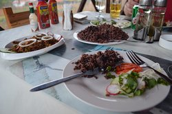Fresh veggies, beans and rice and ropa vieja