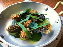 ssnails, morel mushroom, wild garlic