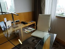 work desk in suite's living room