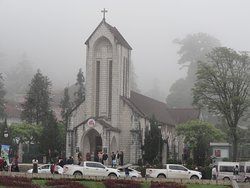 The famous church beside the town square - note the cloud/fog