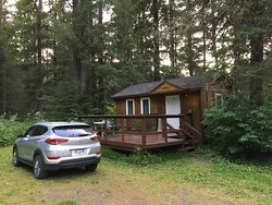 My cabin with my rental car parked right in front