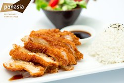 poulet pané japonais panasia (riz, salade, soupe miso)