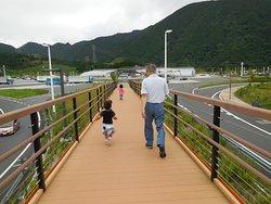 遊歩道。丘からNEOPASA清水の建物に戻るところです