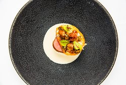 VEAL SIRLOIN AND SWEETBREAD, capers, Bonito tuna flakes