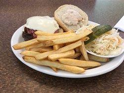 Reuben Burger with Fries and Coleslaw