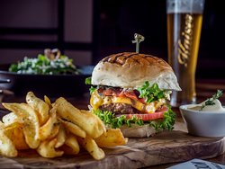 Burger Beef & Pork mix burger with cheddar,bacon,tomato,lettuce,caramelized onios & bbq sauce!!!