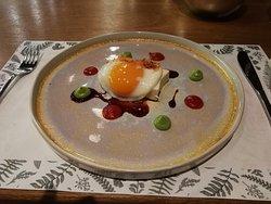 Poached egg and tofu