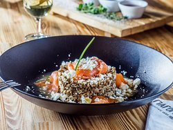 Salmon Salad quinoa, lentils, Galomizithra (soft, white spread cheese) and citrus fruit vinaigre