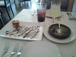 boquerones (marinated anchovies) and escargot stew