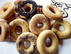 We bake fresh bagels everyday in our own bakery located inside the store. More than 10 flavors!!
