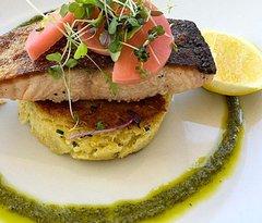 salmon, quinoa potato and chive cake + salsa verde YUM