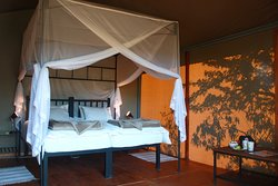 Bedroom of the tented chalet of Waterberg Valley Lodge