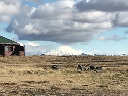 view of the Hekla volcano from the side of the hotel