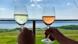 A dry riesling and bubbly pinot noir rosé on the deck!