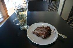 American chocolate cake and white tea