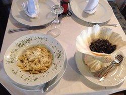 Maccheroni Mljet style and black cuttlefish risotto