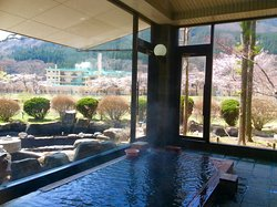Onsen bath during the Spring  Outside bath is just step away