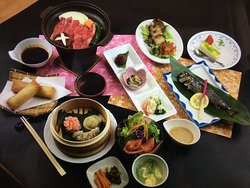 Dinner, Japanese beef, local fish, vegetable, plenty of them