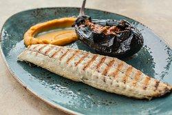 sea bass fillet with stuffed eggplant and sweet potato puree