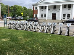 Bike rentals visible from the visitor's center.
