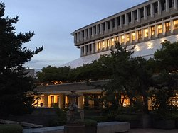 SFU Architecture at dusk, showing white tarp of updates happening