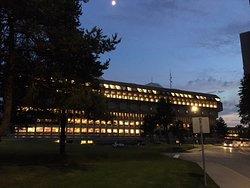 SFU Architecture at night