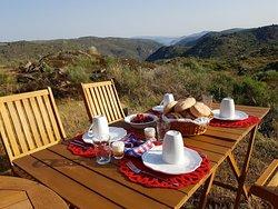 Breakfast at Starcamp Portugal in the Faia Brava Reserve