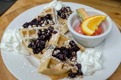Pearl's blueberry crumble waffle