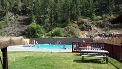 Mineral Hot Springs pools ranging from 95-105 degrees; one very cold. Change rooms showers nearb