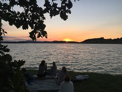 Meditation during the summer solstice sunset at nearby lake Montbel
