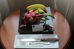 plate of fruit in my room at the grand hotel saigon