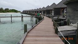And these are the sangu water villas front side. The long pier enables you to see fish.