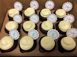 Glittery unicorn themed custom cupcake picks by Flavor Cupcakery