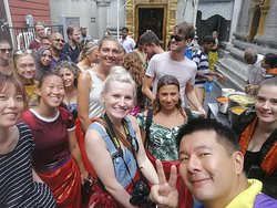 Tour Guide Colin with our fun guest at Sri Veeramakaliamman Temple