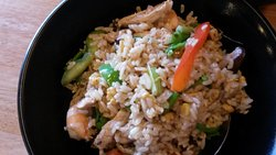 This rice and prawn main came sizzling to the table!