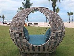 nap pods next to the beach